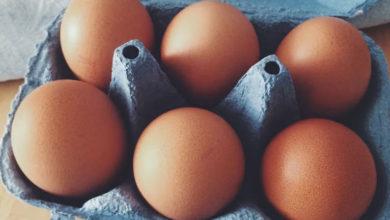Куриные яйца в лотке
